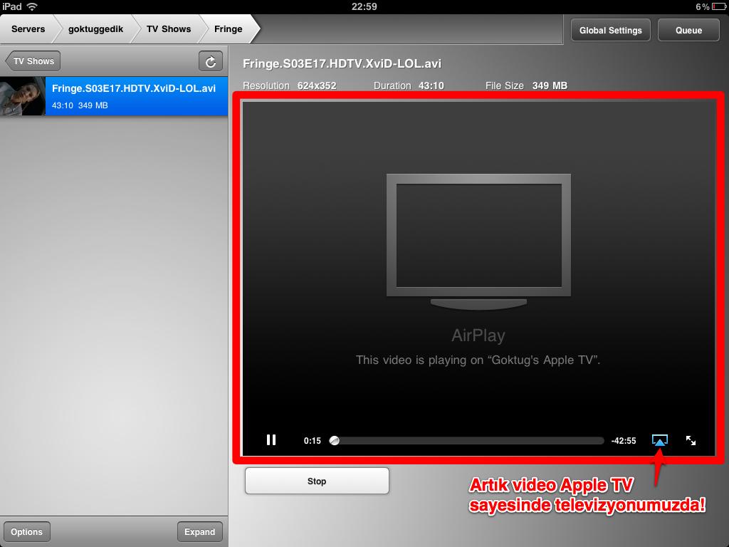 Sihirli elma apple airplay air video ipad app 6a