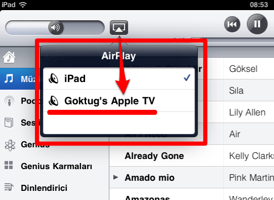 Sihirli elma apple tv airplay iPad 2a