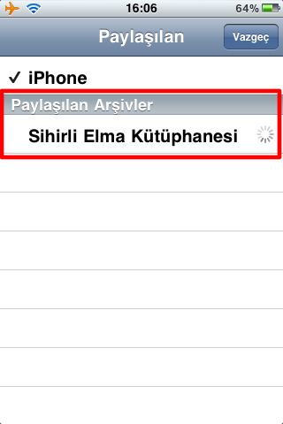 Sihirli elma itunes home sharing iPhone 6a