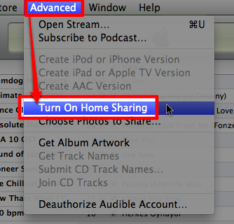 Sihirli elma itunes home sharing setup 0