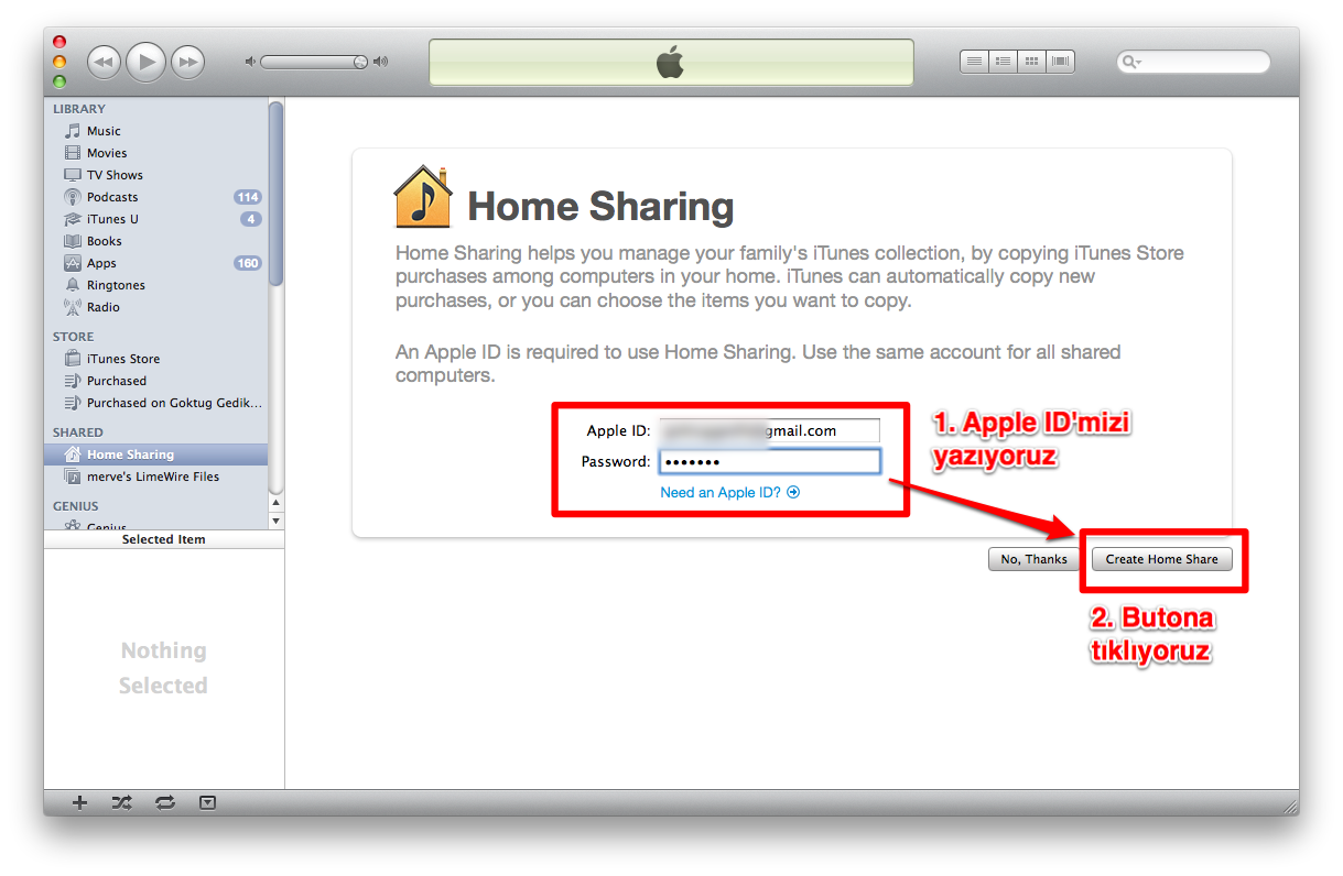 Sihirli elma itunes home sharing setup 1