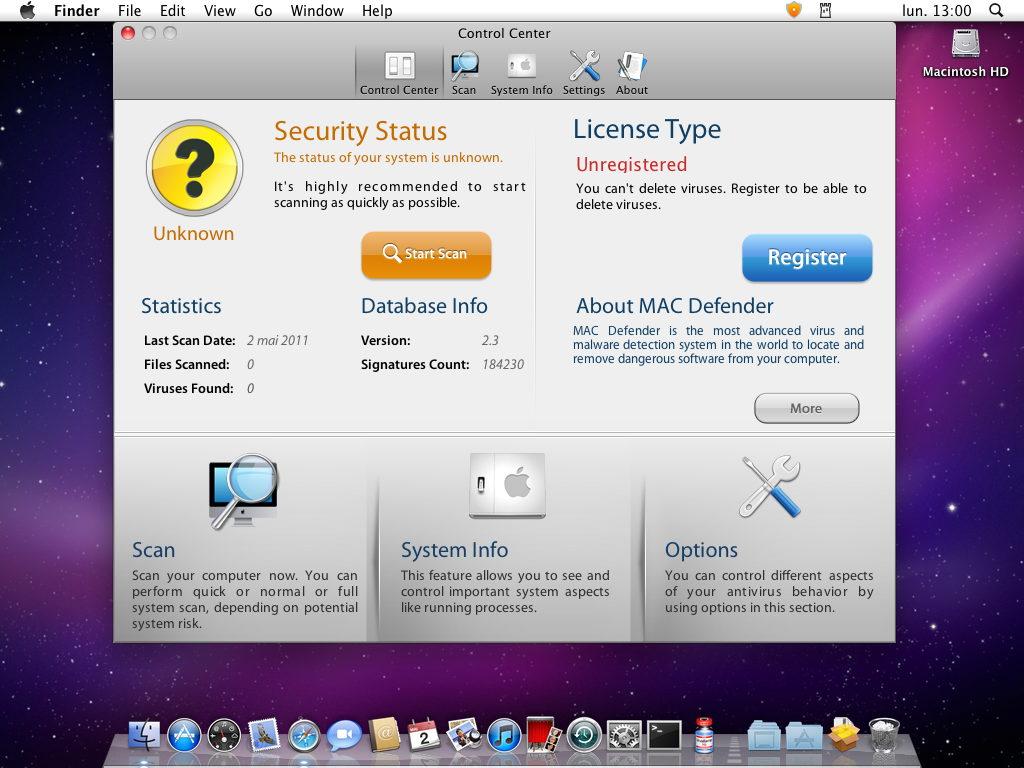 Mac defender main screen