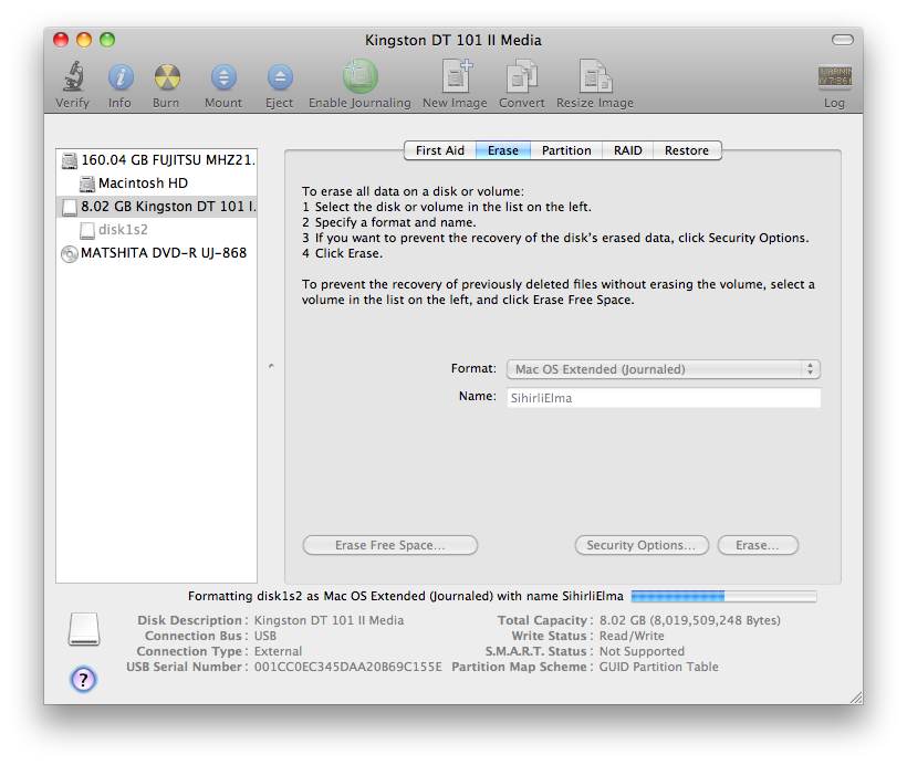Sihirli elma disk format bicimlendirmek 7