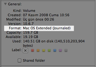 Sihirli elma disk format mac os extended journaled