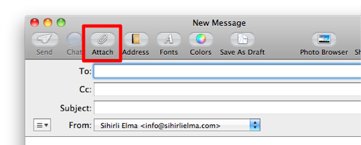 Sihirli elma mail app attachment icon