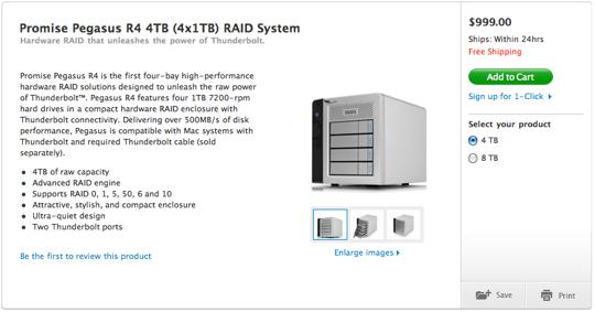 Sihirli elma promise pegasus R4 4TB 4x1TB RAID System