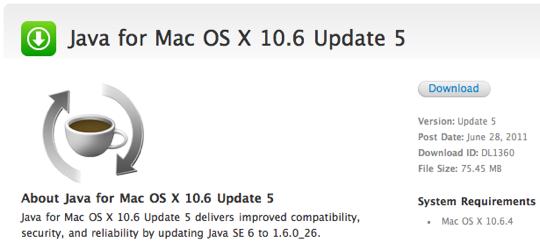 Sihirli elma mac os x java update 2