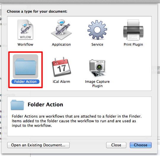 Sihirli elma automator 5 folder action 1
