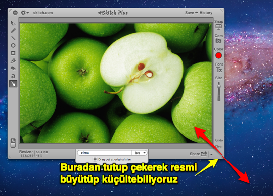 Sihirli elma mac fotograf boyut kucultmek 1