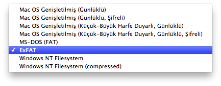 Sihirli elma windows mac disk ntfs exfat fat 5