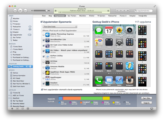 Pc mac itunes tasimak arsiv kitaplik 16