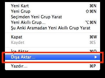 Sihirli elma kisiler adres defteri disa aktar export csv 1