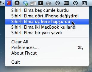 Sihirli elma editor yazi kopyala flycut jumpcut pano 3
