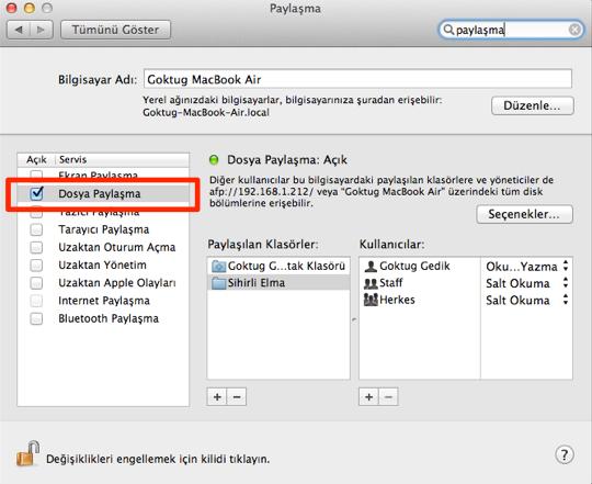 Sihirli elma mac windows dosya paylasimi 2
