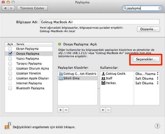 Sihirli elma mac windows dosya paylasimi 4