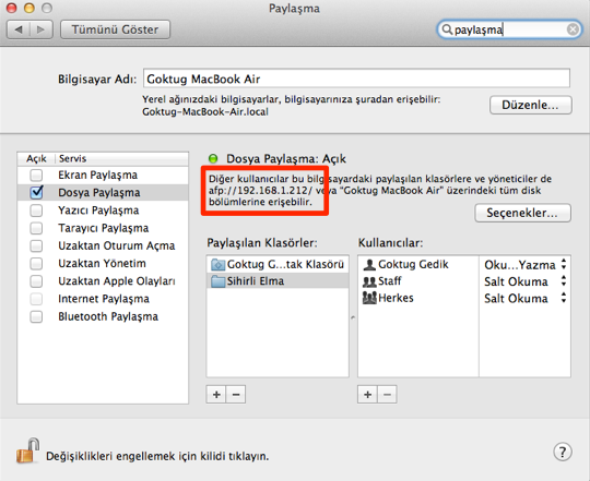 Sihirli elma mac windows dosya paylasimi 8