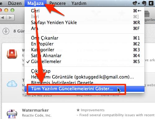 Sihirli elma mac app store guncelleme gizlemek 3