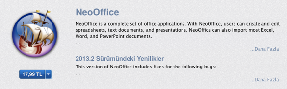 Sihirli elma mac ofis paketleri neooffice 4