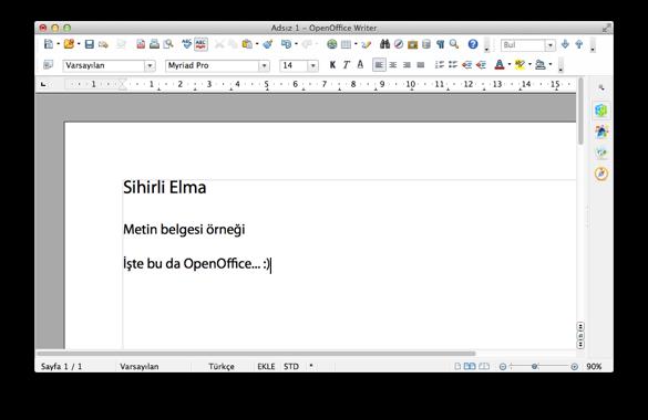 Sihirli elma mac ofis paketleri openoffice 3