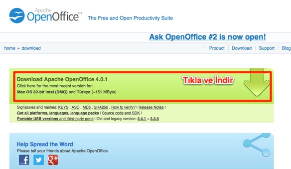 Sihirli elma mac ofis paketleri openoffice 4