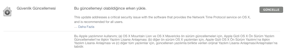 Sihirli elma mac guvenlik guncelleme ntp 3