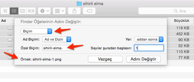 Sihirli elma mac toplu dosya isim degistirme numaralandırma 3