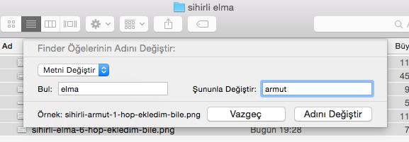 Sihirli elma mac toplu dosya isim degistirme numaralandırma 6
