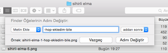 Sihirli elma mac toplu dosya isim degistirme numaralandırma 8