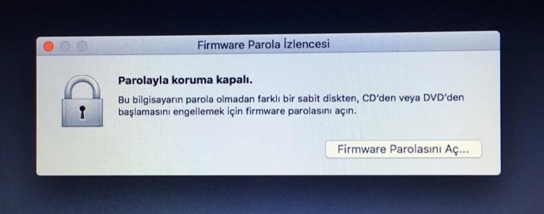 Sihirli elma mac acilis sifresi firmware parola 5