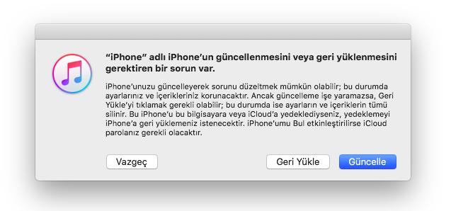 iTunes Geri Yükle
