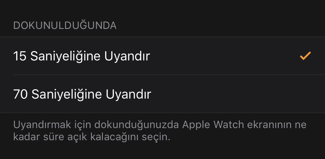 Apple Watch Pil Ömrünü Uzatma Ekran Uyandırma Süresi