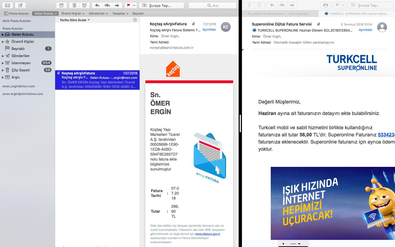 Mac Mail Uygulaması Bölünmüş Görünüm