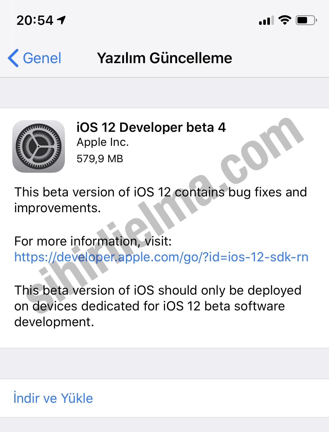 iOS 12 Beta 4 Güncellemesi