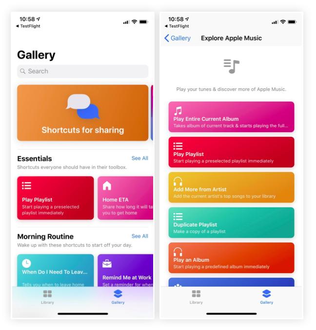iOS 12 Kısayollar Uygulaması Görünümü