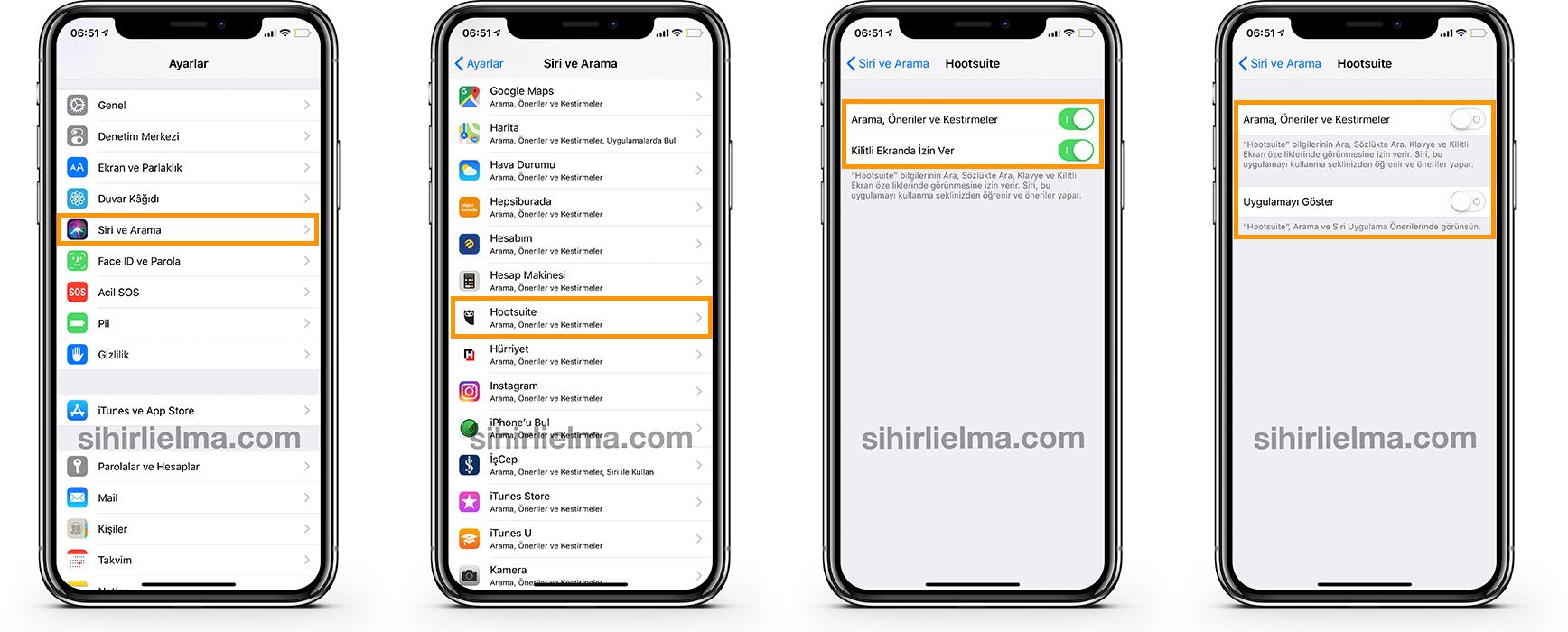 iOS Uygulama Gizleme Spotlight Kapatma