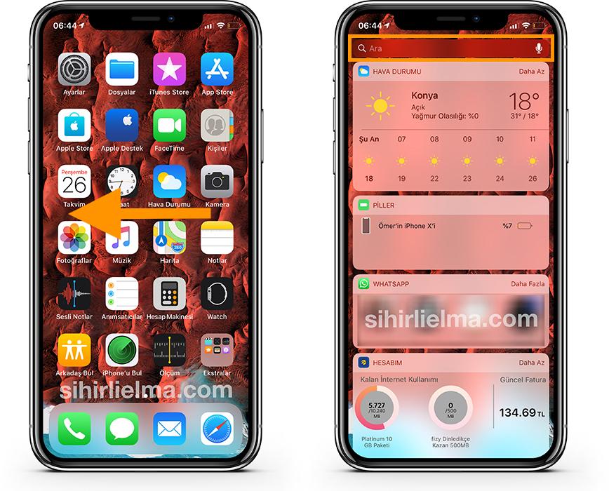 iPhone Uygulama Gizleme Spotlight Bulma