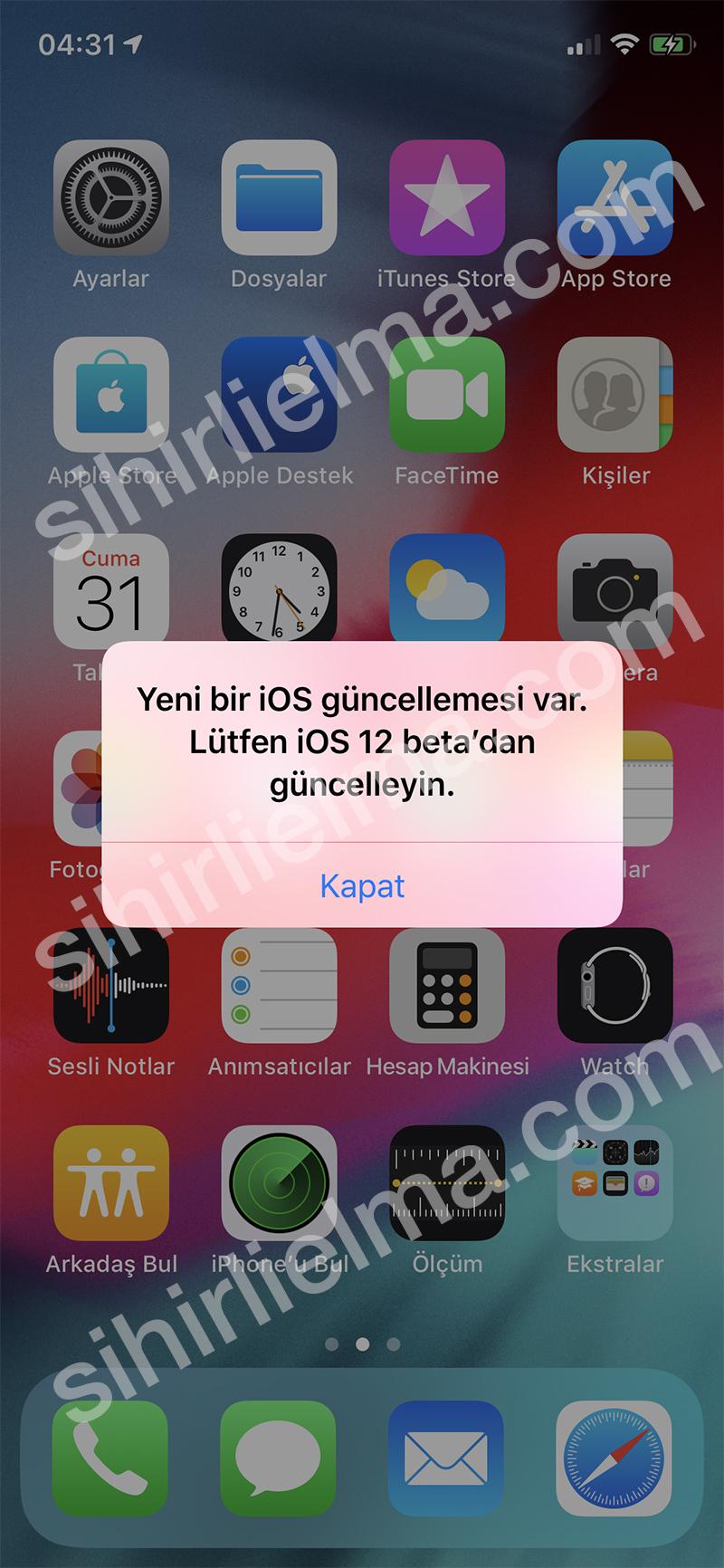 iOS 12 Güncelleme Diyalog Ekranı