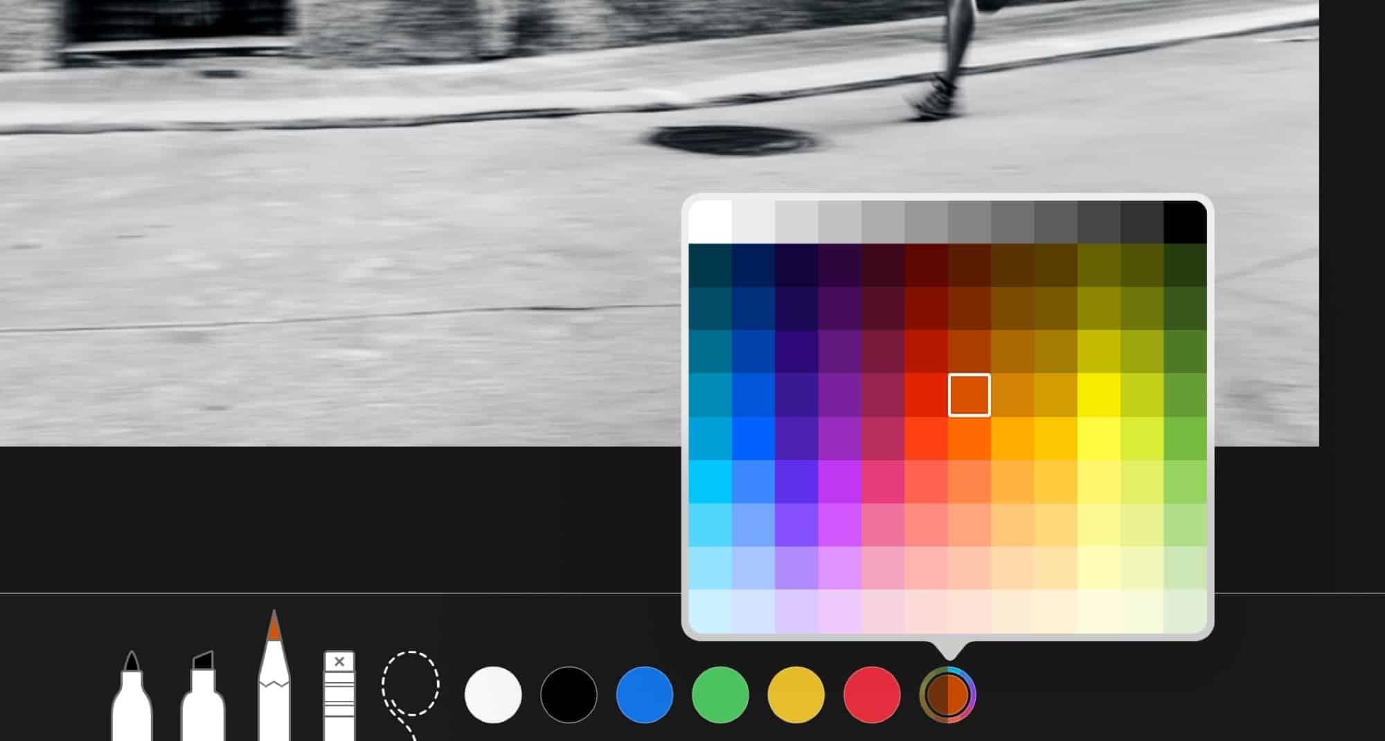 iOS 12 işaretleme özelliği renk paleti