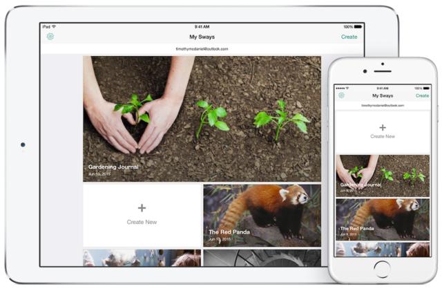 iPad ve iPhone için Sway Uygulaması