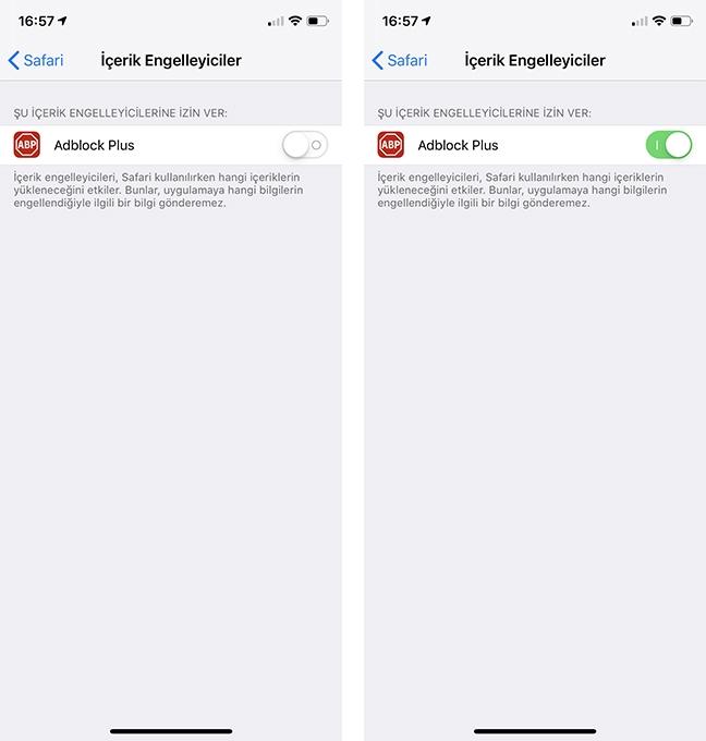 iPhone Reklam Engelleme Safari