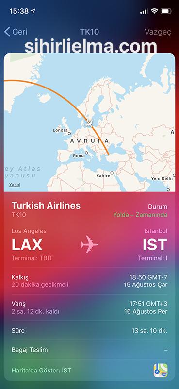 Uçuş Takibi için iPhone