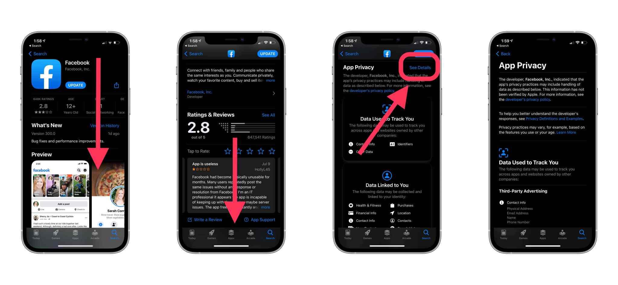 App Store gizlilik etiketleri