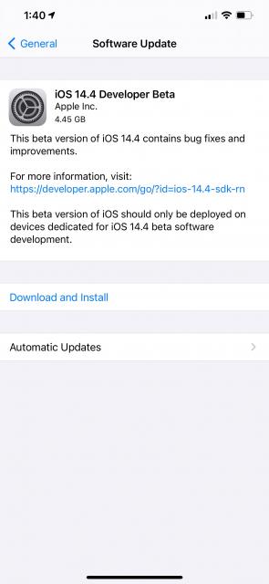 iOS 14.4 Beta 1 güncellemesi yayınlandı